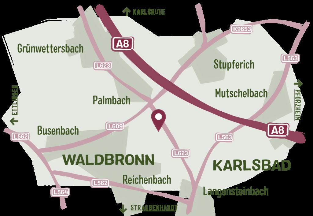 Martinshof Karlsbad | Puten aus Freilandhaltung | Anfahrt
